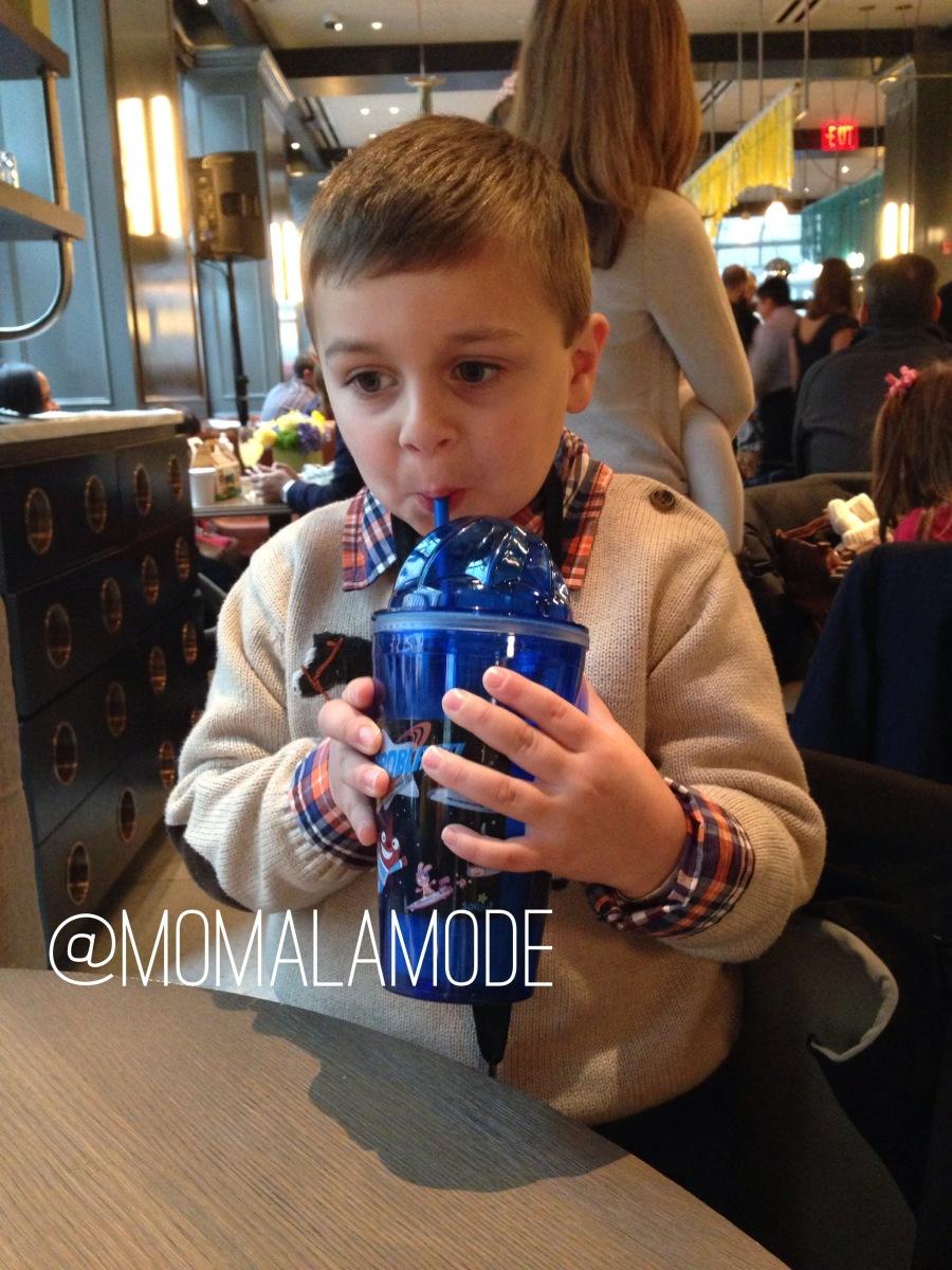 Roc enjoys a smoothie