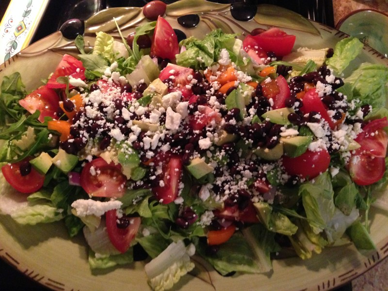 A healthy and colorful salad -- served with Adobo-marinated grilled chicken