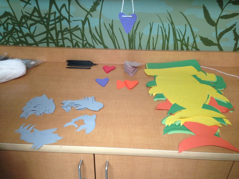There were some fun crafts for the kids to enjoy related to Shark Week...