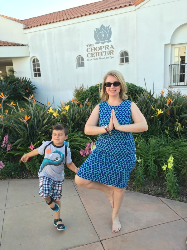 Roc and I strike a pose in front of Chopra Center at La Costa resort, California.