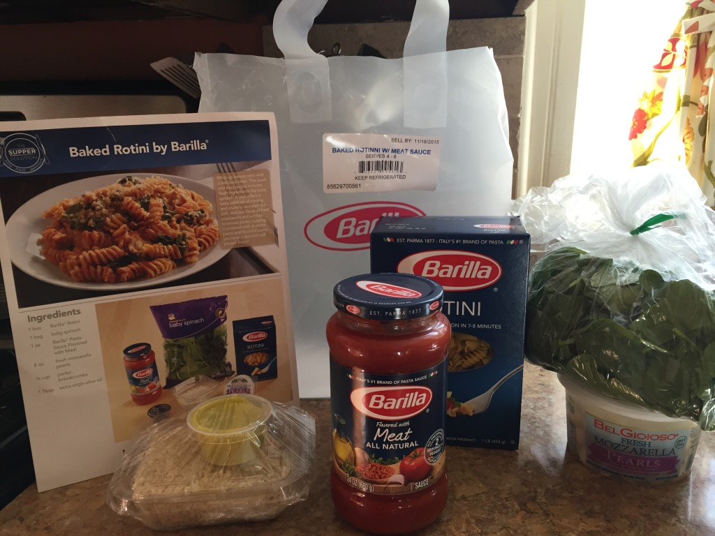 What the Barilla Meal Kit looks like: all items are provided and portioned out for what you need.