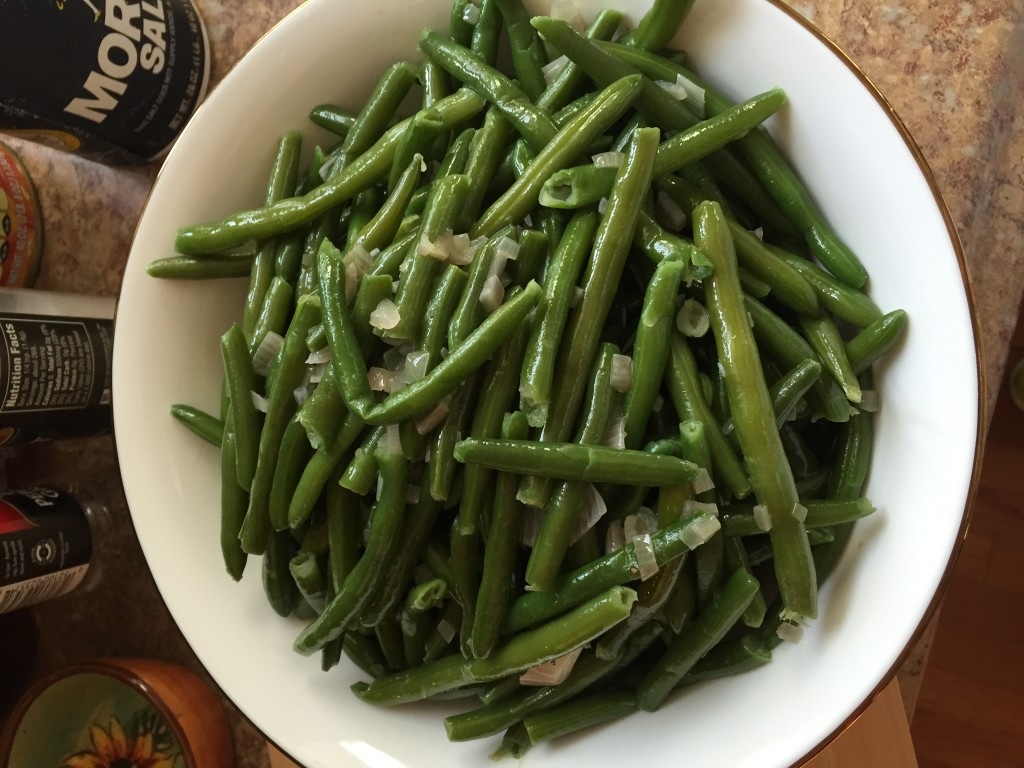 I undercooked the green beans by a few minutes to ensure the final product wasn't mushy.