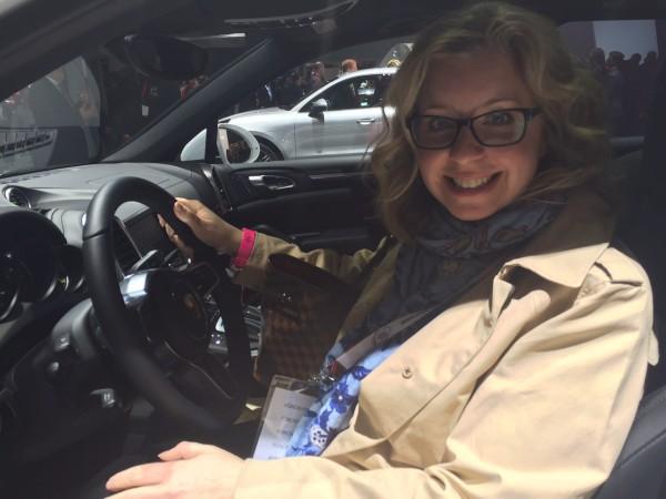 In driver seat of Porsche