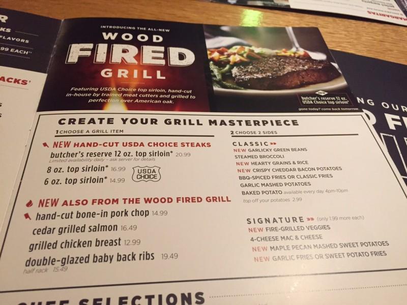 Wood Fired Grill Menu
