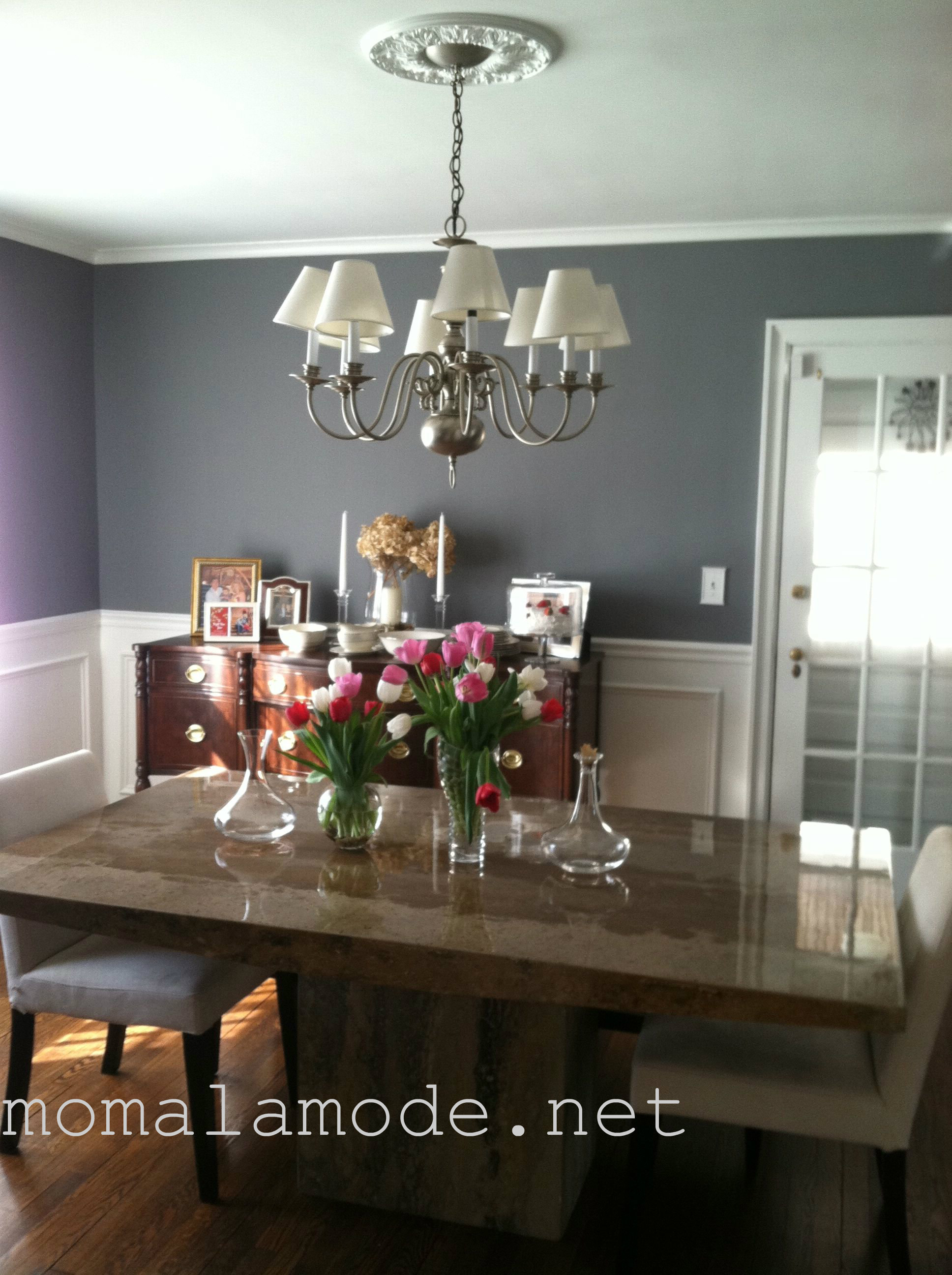 Our Gray Te New Dining Room Mom A La Mode